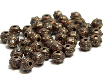 Spacer Beads - Metal Beads - Copper Spacers - Copper Beads - Antique Copper - 4x7mm - Pewter Beads - 42pcs (5571)