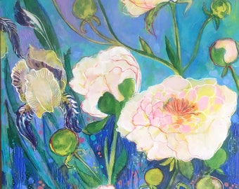Iris Amongst The Peony- mixed media encaustic painting by Maria Pace-Wynters