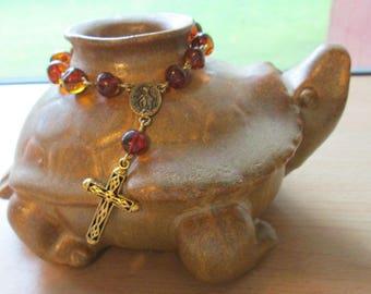 Amber Rosary Bracelet, Crucifixion Bracelet, Religious Bracelet