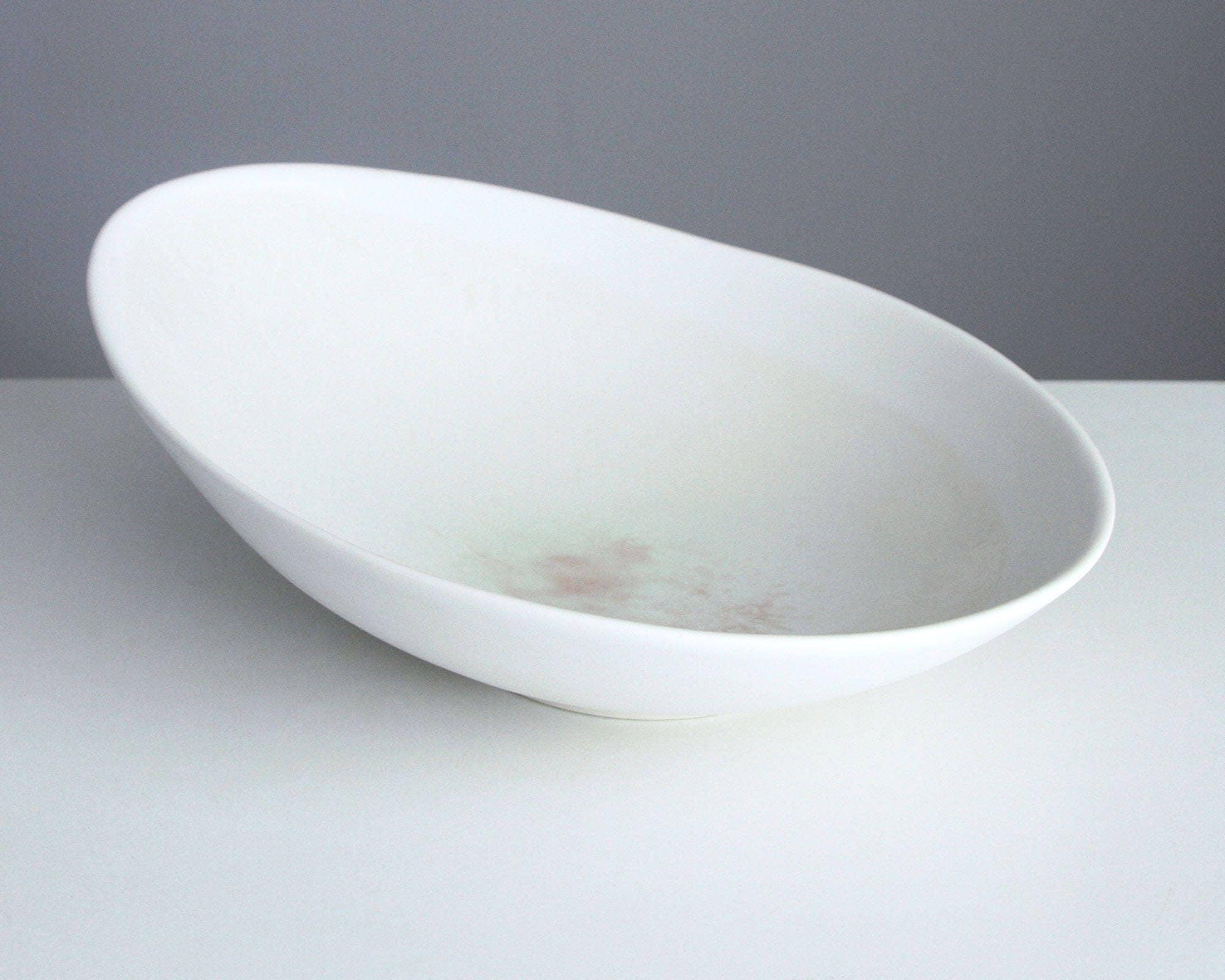 Oval centerpiece bowl modern white blush pink tilt