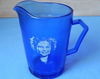 Vintage 1930s Art Deco Era Cobalt Blue Shirley Temple Pitcher