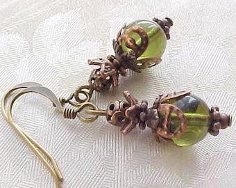 Olive Green Earrings Olivine Glass Earrings Antique Copper Filigree Brass Bronze Czech Glass Earrings Winter Earrings Winter Jewelry