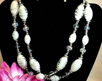 July 4th Sale White Glass Bead Necklace Vintage White Clear Glass Beads 36 Inch Necklace