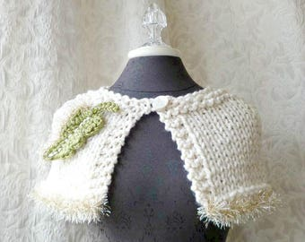 Razzle Dazzle Capelet - Hand Knit Cape with Leaf Embellishment