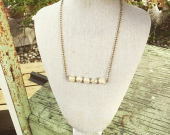 Freshwater Pearl Bar Gold Necklace