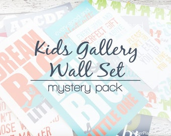 Gallery Wall Decor for Kids, Nursery Wall Art Mystery Pack for Girls or Boys Room, Baby Wall Decor, Childrens Art Set of Prints for Playroom