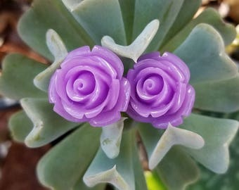 Lavender Vintage Style Rosebud Earrings