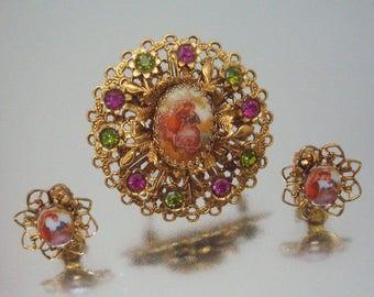 Filigree Rhinestone Brooch & Earrings  Pin Pink Green Vintage Jewelry