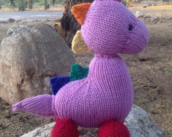 Natural Stuffed Animal Toy -  Dinosaur -  handKnit by Woolies Wool Stuffed Animal Doll