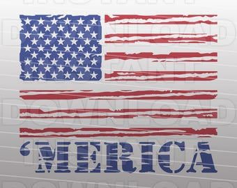 Merica SVG File,American Flag SVG,USA Flag svg File-Cutting Template-Vector Clip Art Commercial & Personal Use-Cricut,Cameo,Silhouette,Vinyl