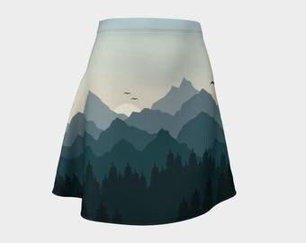 Tantalus Mountain Range Flare Skirt - Size 8/10