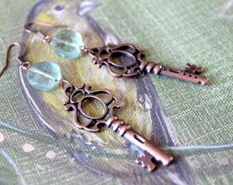 Like Olden Times Copper Skeleton Key Earrings with Blue Fluorite Beads