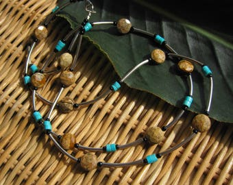 Jasper & Turquoise necklace/choker- Artisan jewelry, Bohemian, Earthy double strand Sterling silver necklace