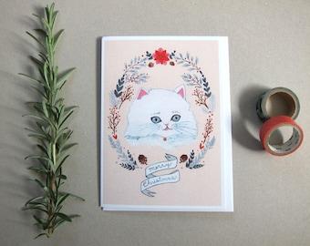 SALE - Christmas Card - Cat Christmas Card - Holiday Card - Blank Holiday Card - White Cat Christmas Card - Cat Card - White Christmas Cat