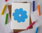 Blue Flower screenprinted forget-me-not greeting card