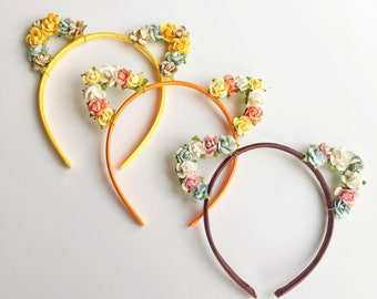 Fall Cat Ears Flower Headband, Rose Cat Ears, Floral Cat Ears