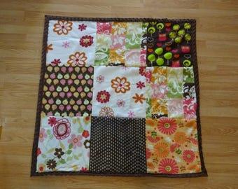 Brown patchwork fleece and minky blanket