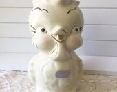 Vintage Shawnee Ceramic Pottery Yellow Bird Owl Chick Creamer Pitcher Gold