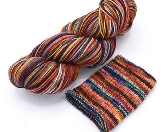 Gasoline Rainbow Watercolor Stripes - Self-Striping Targhee Sock Yarn Made to Order