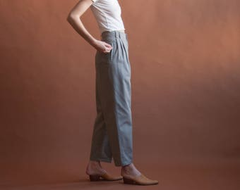 light gray high waist chino trousers / cotton pleated baggy khaki pants / US 12  / 2576t / B10