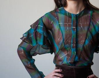 tartan plaid sheer organza ruffle blouse / romantic blouse / sheer shirt / s / m / 3105t / B18