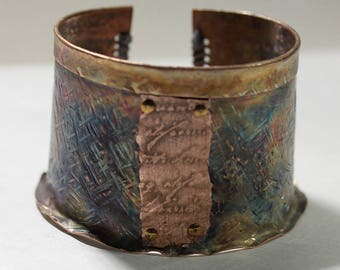 Blue Laced Fold-formed Copper Cuff