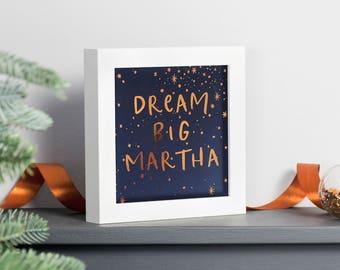 Personalised Copper Foiled Dream Big Framed Print - New Baby Print - Personalised Copper Nursery Artwork - Magic Framed Keepsake
