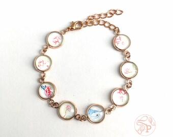 Bluebird rose gold bracelet / vintage floral jewellery / Superb Fairy Wren jewellery / watercolour art jewellery / rose gold jewellery
