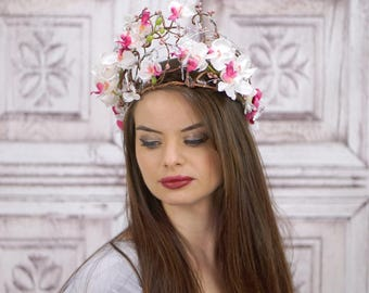 Woodland Bridal Headdress, White and Pink Orchids, Woodland Crown, Headpiece, Fairy Crown, Elven Crown, Bridal Headpiece, Wedding, Boho