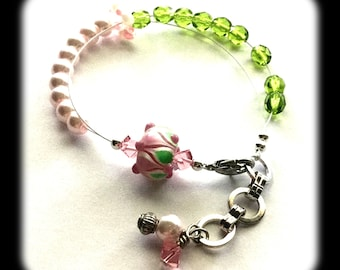 """Adjustable Row Counter Bracelet - 7"""" - 8"""" - Pink and Green Lampwork Focal with Green and Pink Czech Glass - I1"""