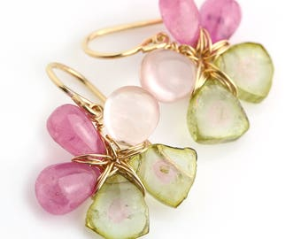 Watermelon Tourmaline, Pink Sapphire and Rose Quartz Flower Earrings in Gold Fill
