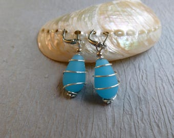TURQUOISE SEAGLASS EARRINGS drop earrings nickle free wire wrapped
