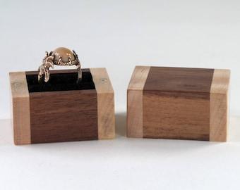 Wooden Ring Box, Walnut Wood, Maple Wood