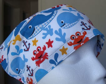 Little Whale Hattie Style............Surgical Hat....Bakers Hat