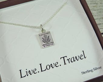 Passport Necklace - Sterling Silver Necklace - Passport Charm - Travel Necklace - Gift For Traveler - Live Love Travel - Travel Pendant