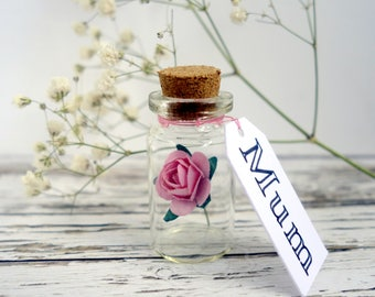 Personalised gift, personalised anniversary gift, Mother's Day gift, keepsake. Paper rose in a bottle & your custom message