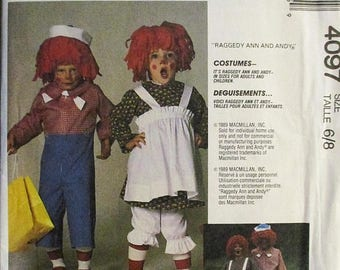 30% OFF SALE 1980s Vintage Sewing Pattern McCalls 4097 Boys & Girls Raggedy Ann and Raggedy Andy Costumes Pattern Size 6/8 Uncut