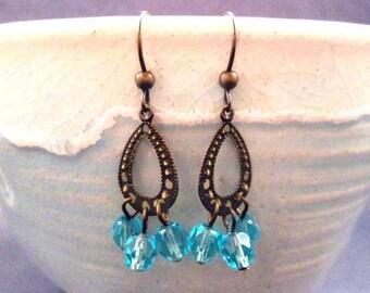 Chandelier Earrings, Aqua Blue Glass Beaded, Brass Drop Earrings, FREE Shipping U.S.