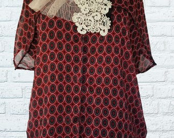 Floral Top Shirt L XL Large Geometric Circles Eco Friendly Recycled Clothing Art To Wear