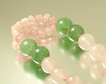Vintage 1980s, long length, pale pink rose quartz  and jade semi precious gemstone bead necklace - jewelry jewellery UK seller