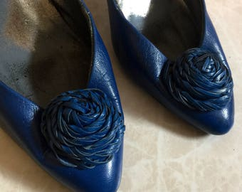 Royal Blue Pumps with Woven Leather Flowers- 80s