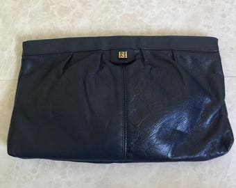 Navy Leather Borelli Collection Clutch with Metal Zipper - 1980s