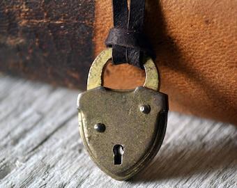 Antique Lock Necklace - Mens Lock Necklace - Brass Lock - Leather Necklace - Leather Lock Necklace - Unlock my Heart - Padlock