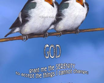 Printable Card, eCard, SERENITY Prayer with Artwork of Two Birds, Singing, Original Art, Instant Download