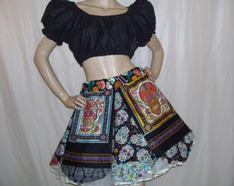 Sugar Skull Skirt Black Day of Dead Dias De Las Muertas Mom Halloween Party OOAK Sugar Skull Skirt Skeleton S M L XL Adult Skirt