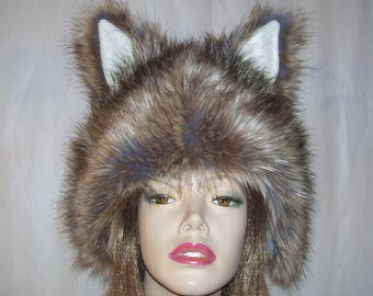 89d0c97cb41 Brown mouse bear fur hat ears warm winter feather furry head jpg 340x270  Grey wolf fur