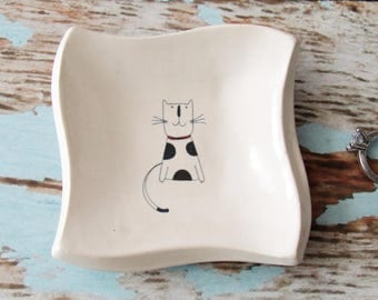 Square Trinket Dish, Coin dish, Jewelry Dish, Colorful Kitten pottery - great for rings or spoon rest