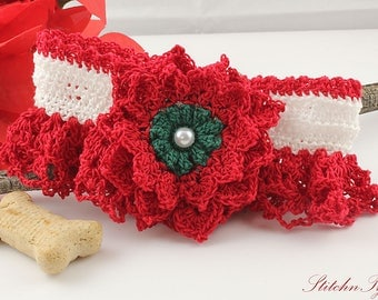 Christmas Red Dog Collar, Pet Portrait Prop, Dog or Cat Apparel, Soft Fancy Dog Neckwear (Small/Medium Size 12)