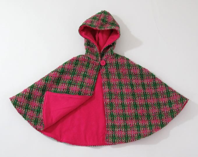 Pink & Green Plaid Nubby Wool Warm Hooded Cape with Pink Lining, Toddler Girls Cape, Capelet, Poncho, Girls Cape, Pink Cape, Size 1/2T