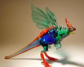Handmade Blown Glass Figurine  Art Blue and Green DRAGON with a Red Ridge